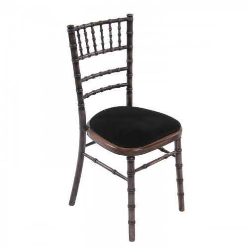black wash chiavari wedding chair with black seat pad
