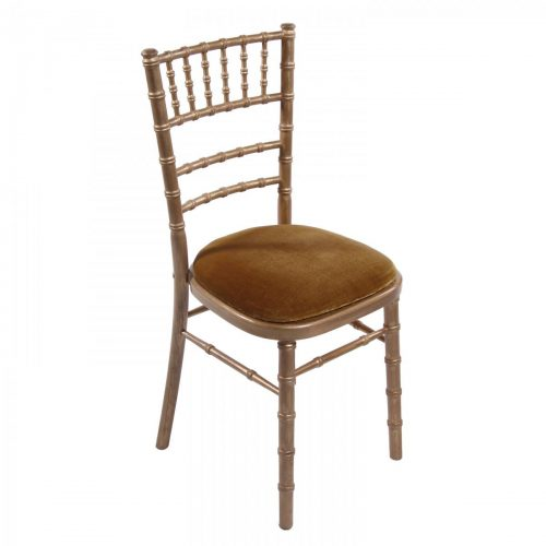 gold wash chiavari wedding chair with gold seat pad