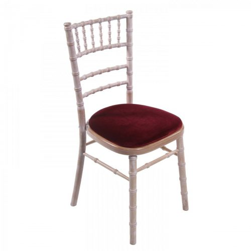 lime wash chiavari wedding chair with red seat pad