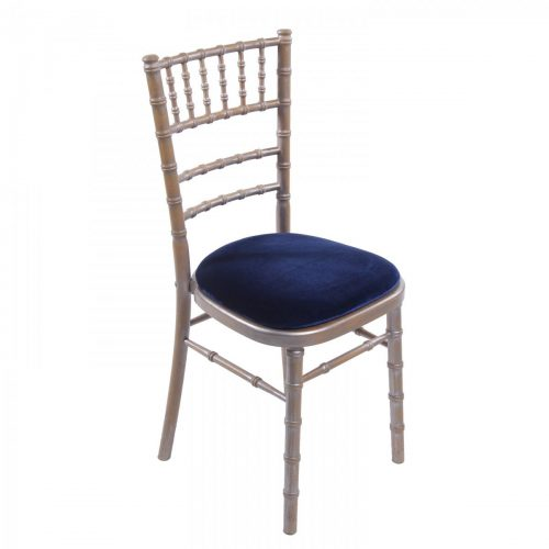 silver wash chiavari wedding chair with blue seat pad