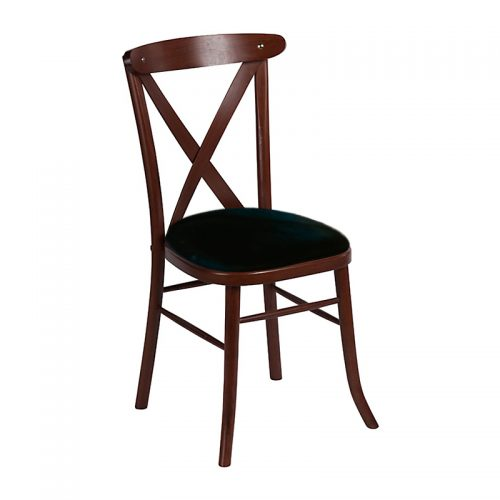 Mahogany cross back chair with black seat pad