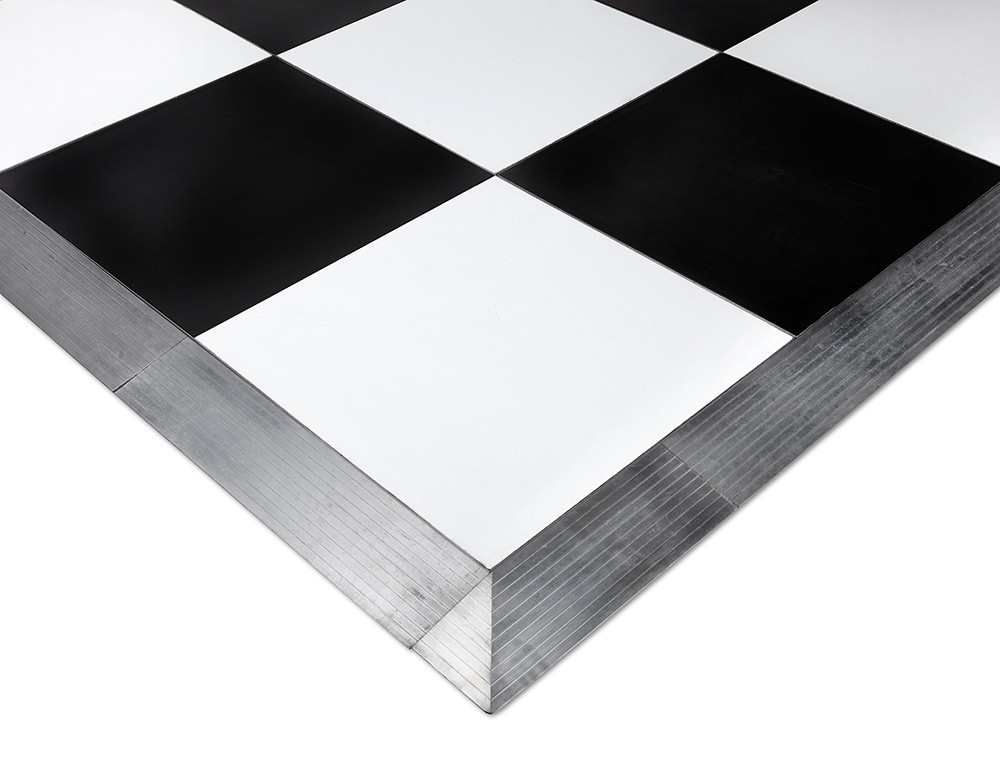 black and white dance floor section