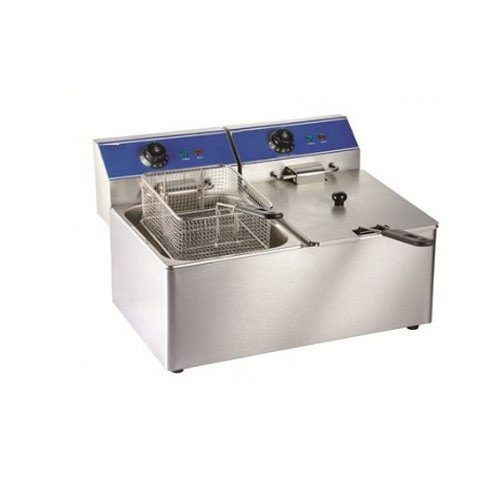 Table top fryer with two sections