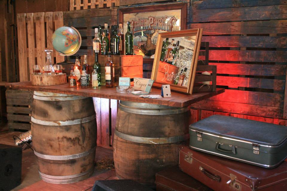 Barrel bar laden with drinks