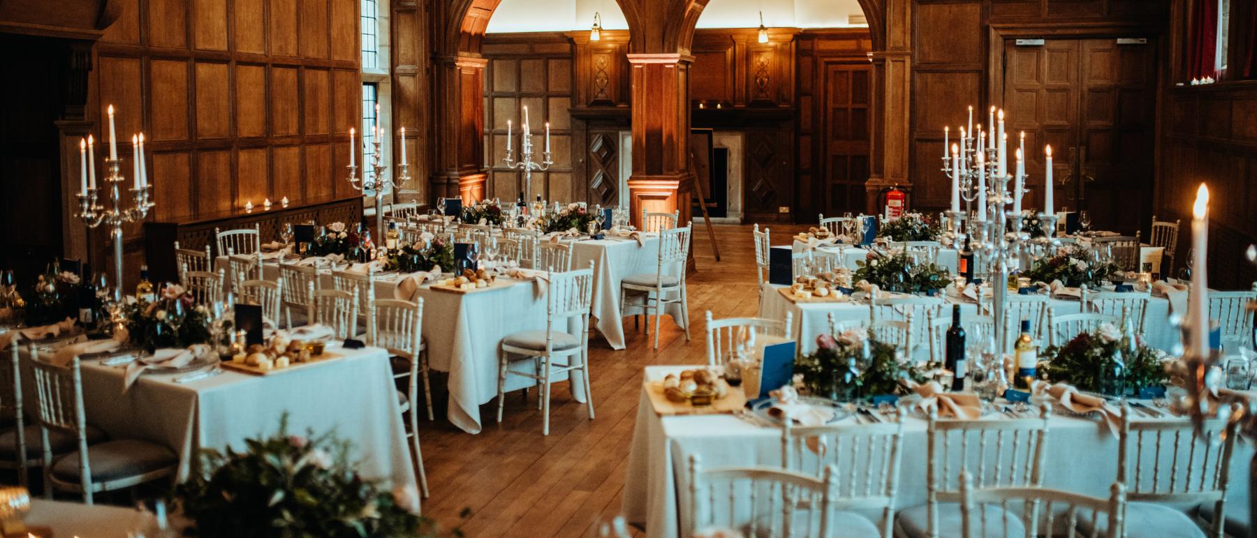 Wedding tables arranged in a chevron shape