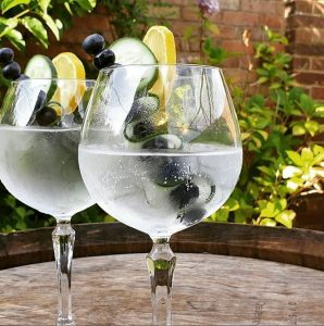 Gin glasses in the garden
