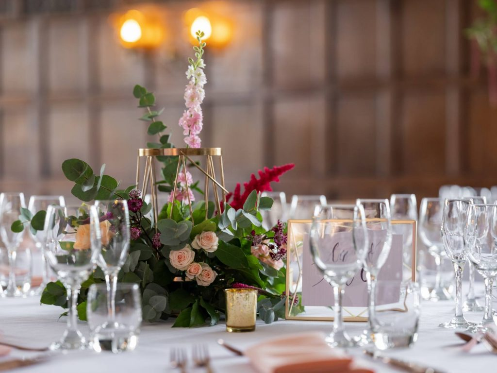 A table set up for a wedding