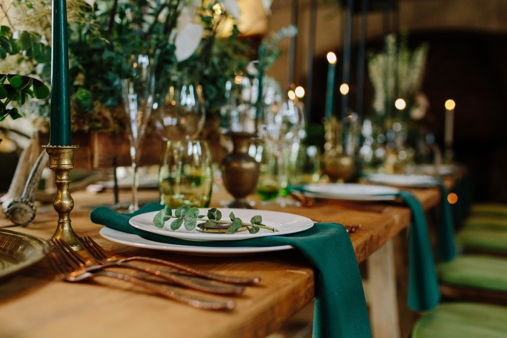 Winter wedding table linen, Ravenswood