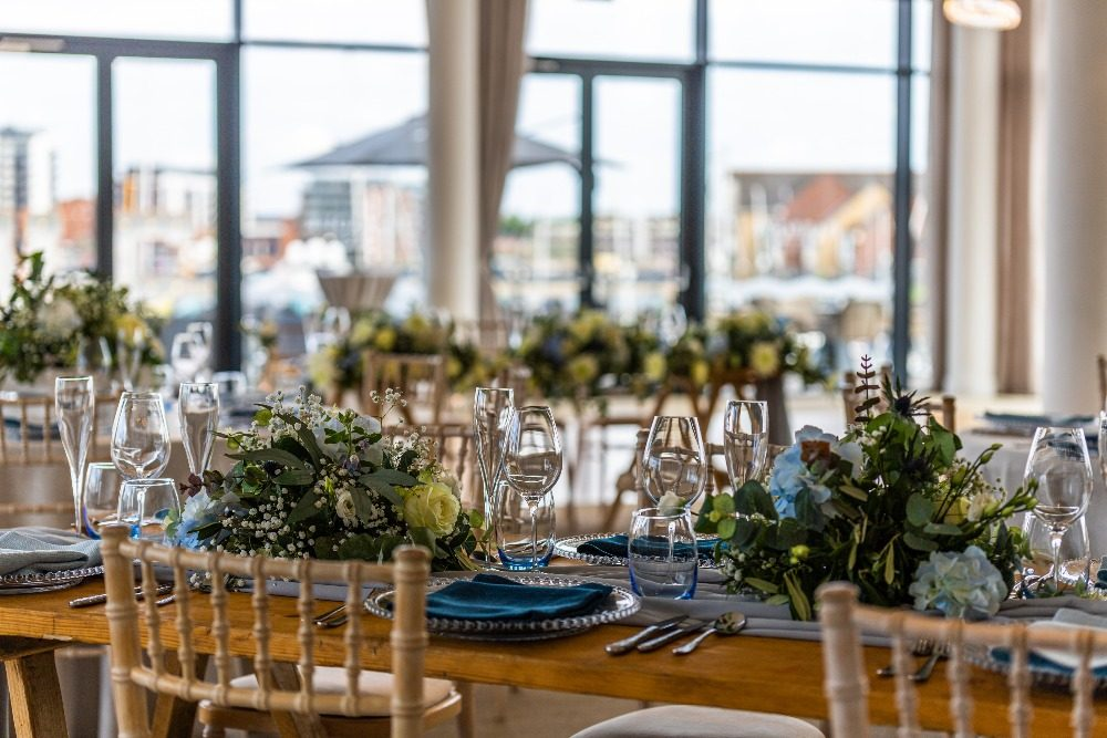 Favourite wedding trends of 2019, low centrepieces, at the Southampton Harbour Hotel