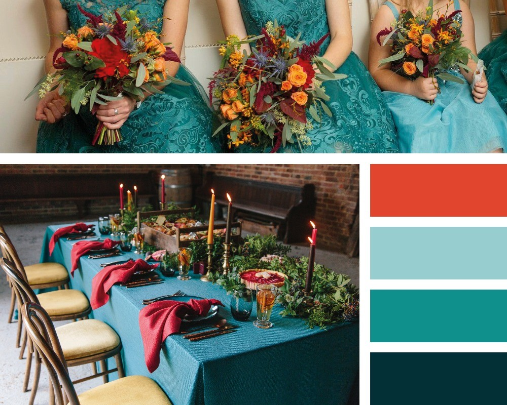 The hottest colour trends for weddings in 2020, teal & orange